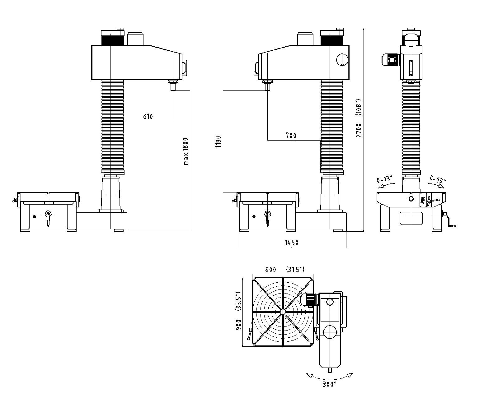 Габаритные размеры unigrind STM800E