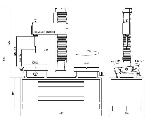 габаритные размеры шлифовального станка unigrind STM 500